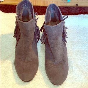 Breckelle brown fringe booties